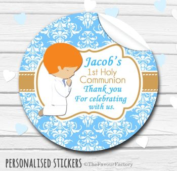 Holy Communion Favors Stickers Personalised Praying Boy (Ginger Hair)