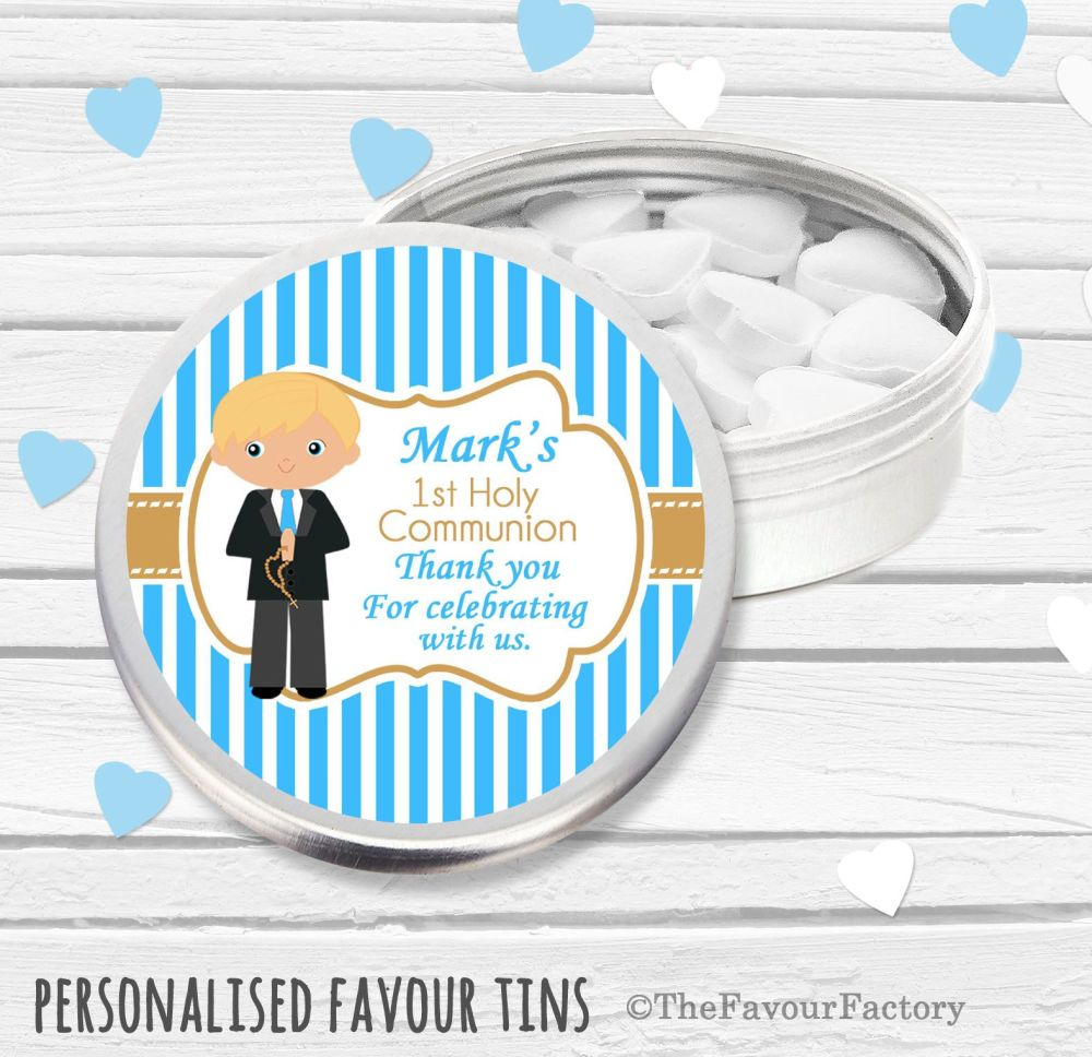 Blonde Hair Boy Personalised Holy Communion Party Favour Tins x1