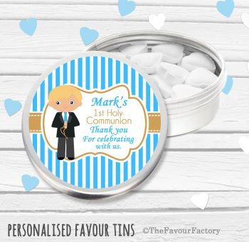 Boy Blonde hair Personalised Holy Communion Party Favour Tins x1
