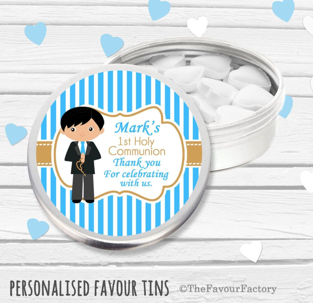 Black Haired Boy Personalised Holy Communion Party Favour Tins x1