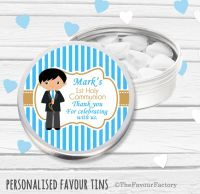 Boy Black Hair Personalised Holy Communion Party Favour Tins x1