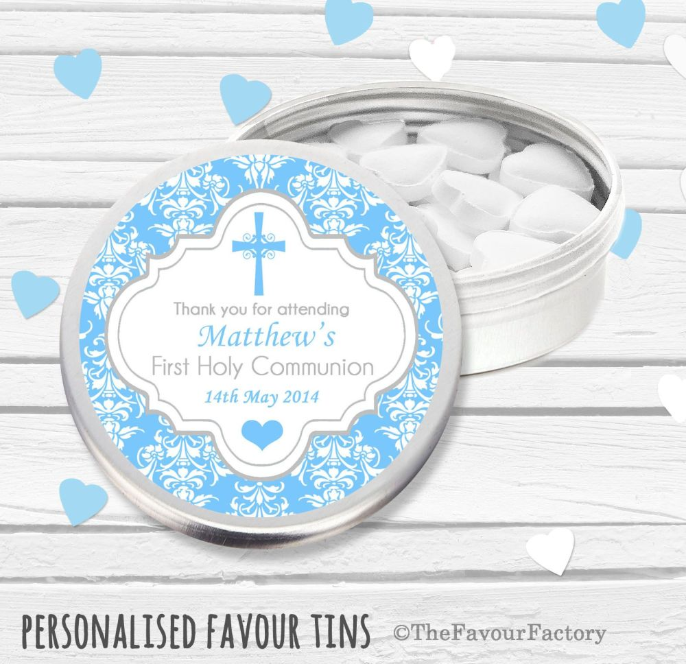 Damask Cross Blue Personalised Holy Communion Party Favour Tins x1