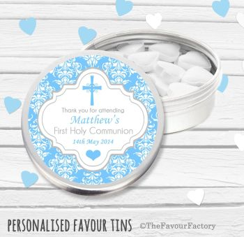 Cross Damask Blue Personalised Holy Communion Party Favour Tins x1