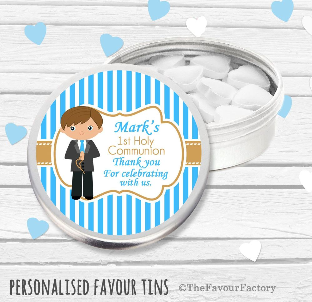 Brown Haired Boy Personalised Holy Communion Party Favour Tins x1