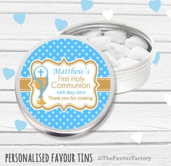 Chalice Blue Personalised Holy Communion Party Favour Tins x1