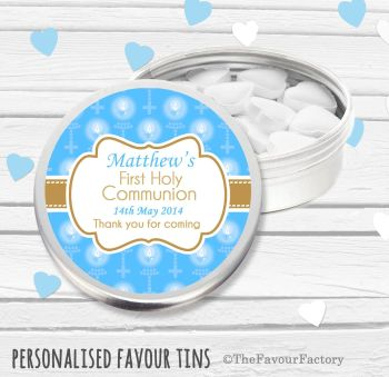 Beads & Candles Blue Personalised Holy Communion Party Favour Tins x1