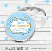 Candy Sweets Blue Personalised Holy Communion Party Favour Tins x1