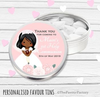 Floral Girl Personalised Holy Communion Party Favour Tins x1