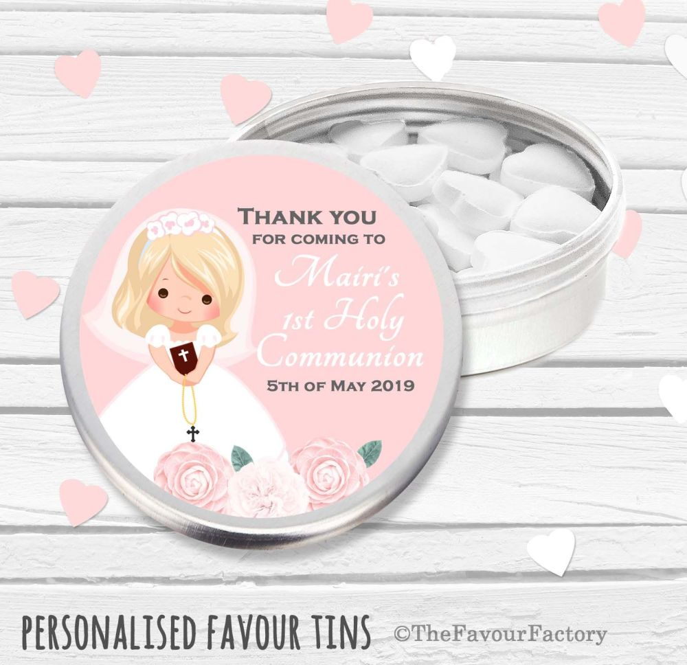Floral Blonde Hair Girl Personalised Holy Communion Party Favour Tins x1