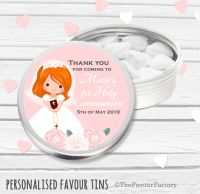 Floral Ginger Hair Girl Personalised Holy Communion Party Favour Tins x1