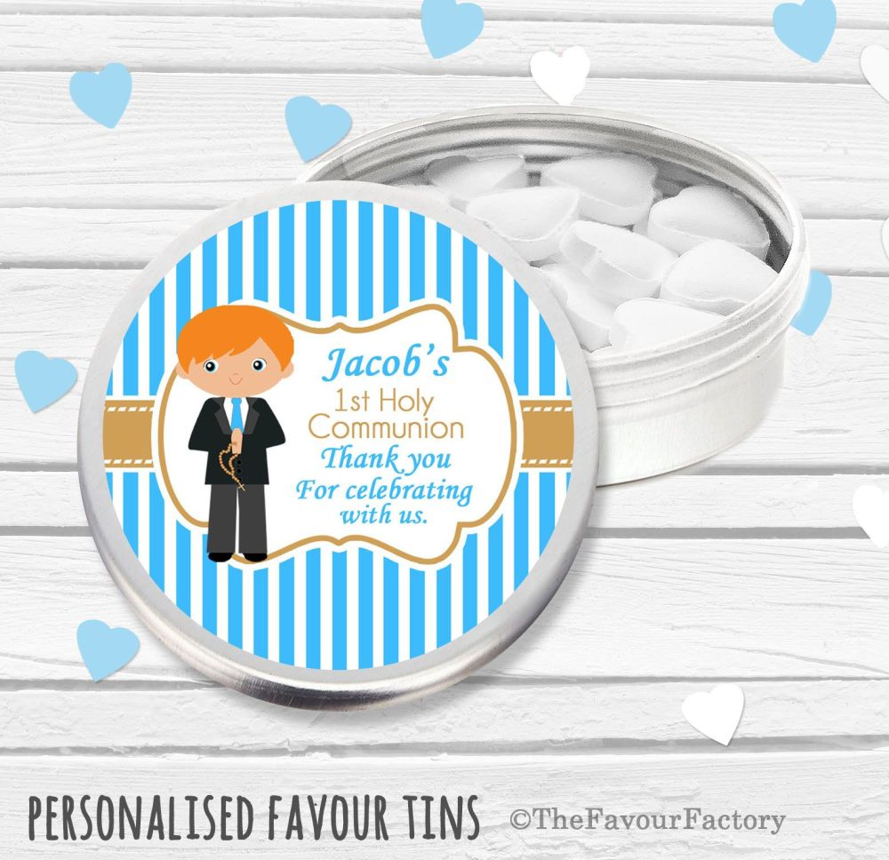 Boy Ginger Hair Personalised Holy Communion Party Favour Tins x1