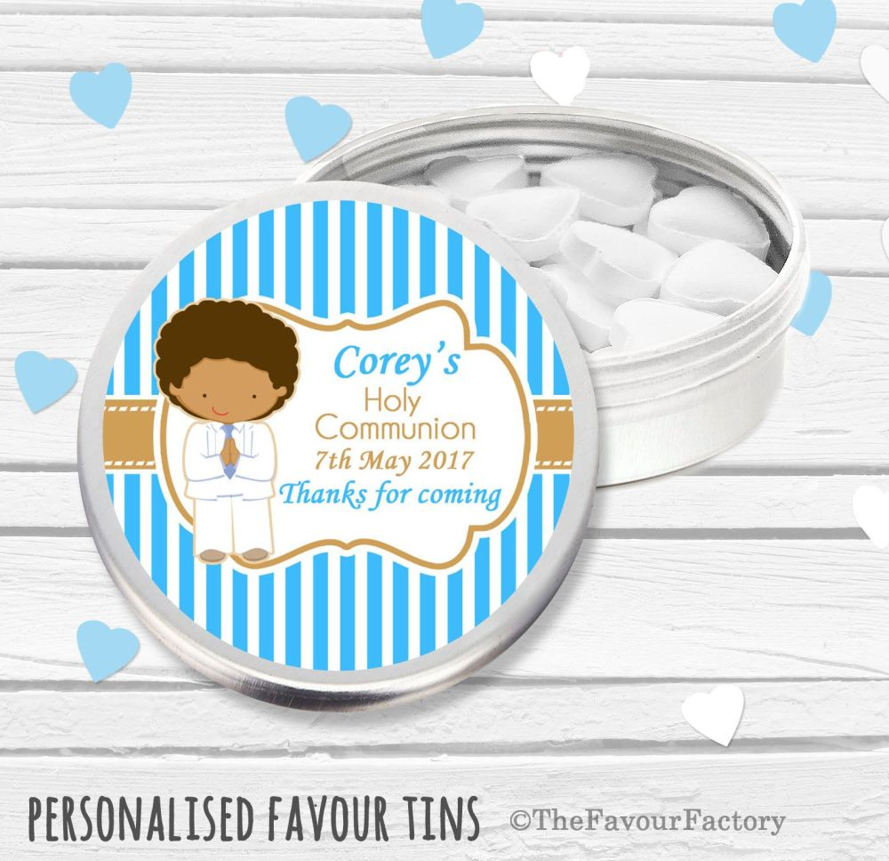 Boy White Suit Personalised Holy Communion Party Favour Tins x1