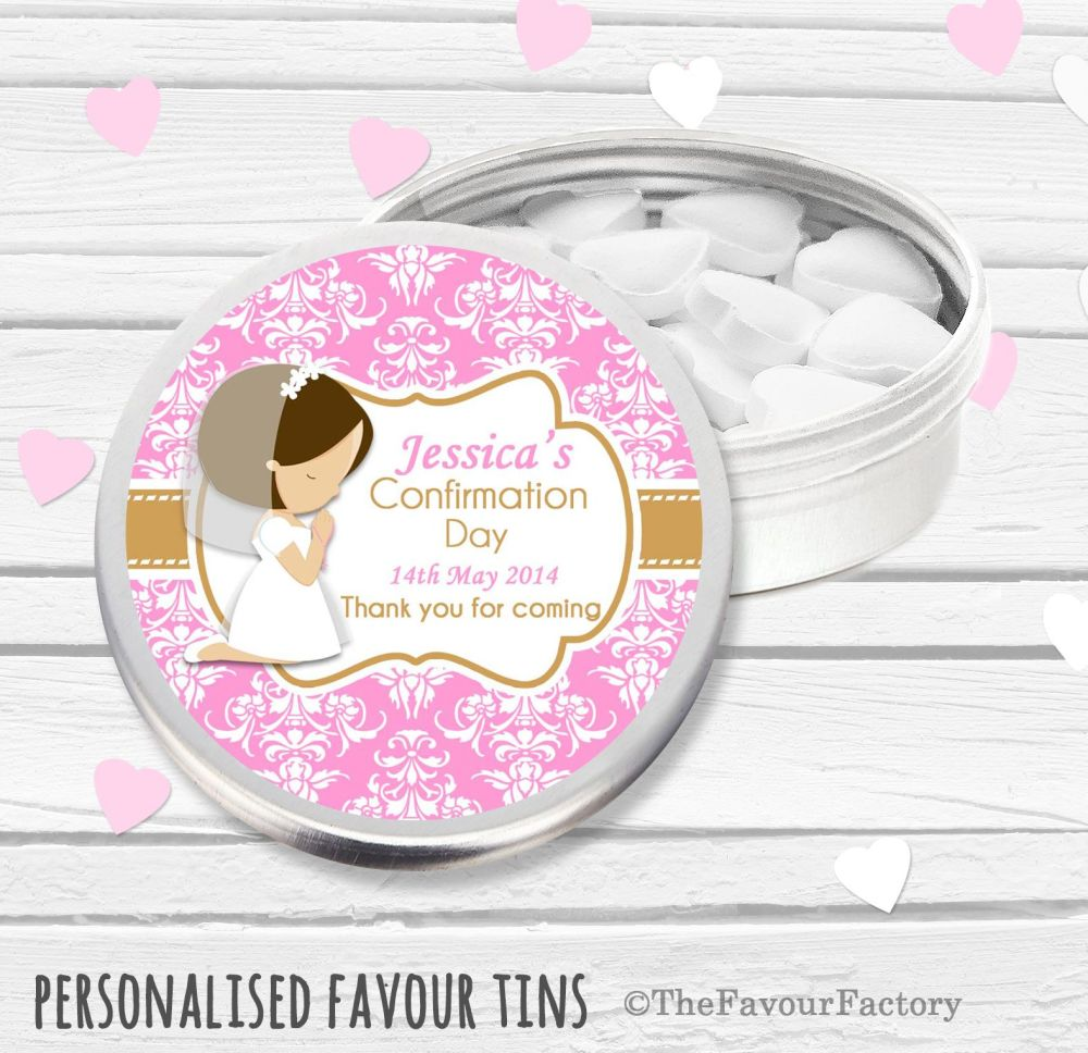 Praying Brown hair Girl Personalised Holy Communion Party Favour Tins x1