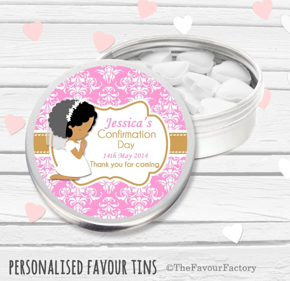 Praying Afro hair Girl Personalised Holy Communion Party Favour Tins x1