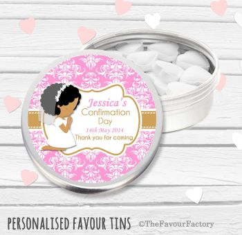 Praying Girl Personalised Holy Communion Party Favour Tins x1