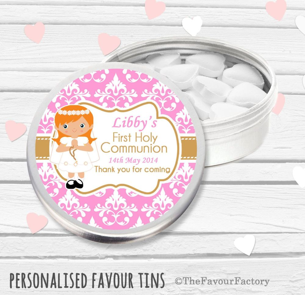 Damask Ginger Hair Girl Personalised Holy Communion Party Favour Tins x1