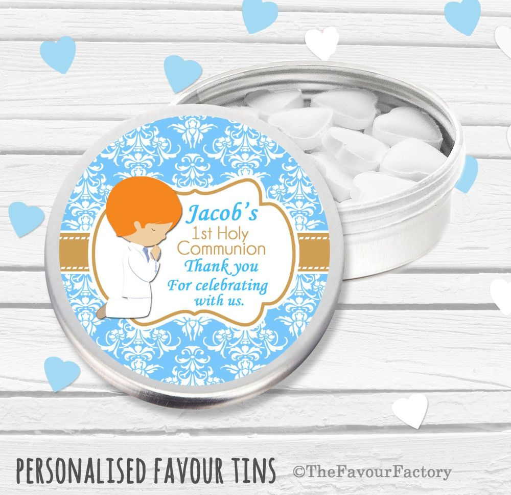 Praying Boy Ginger Hair Personalised Holy Communion Party Favour Tins x1