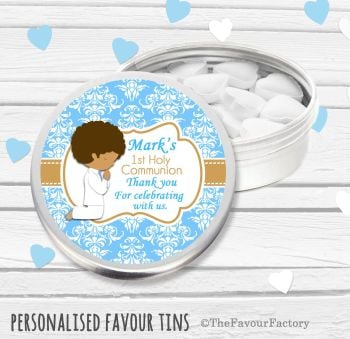 Praying Boy Personalised Holy Communion Party Favour Tins x1