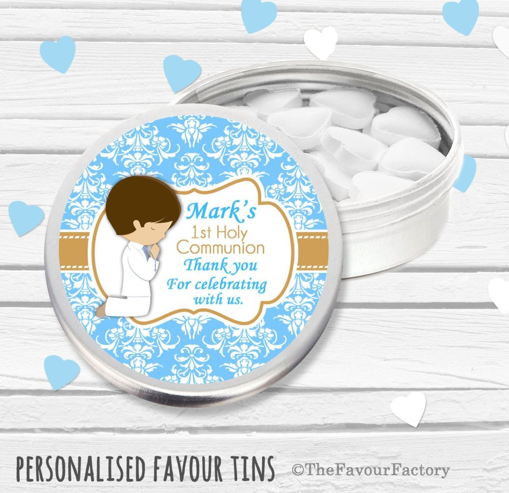 Praying Boy Brown Hair Personalised Holy Communion Party Favour Tins x1