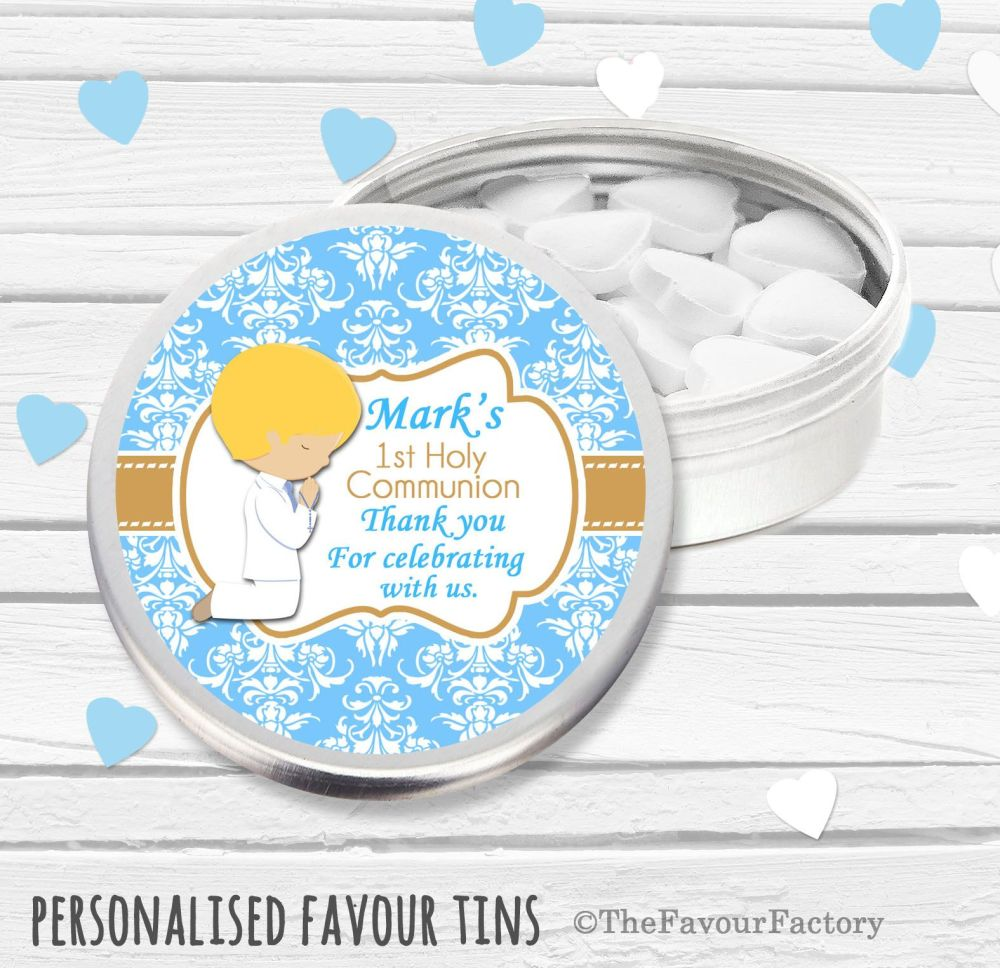 Praying Boy Blonde Hair Personalised Holy Communion Party Favour Tins x1