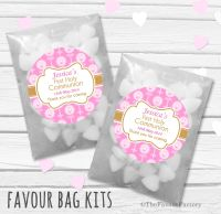 Beads with Candles Pink Personalised Holy Communion Party Favours Glassine Bags Kits x12