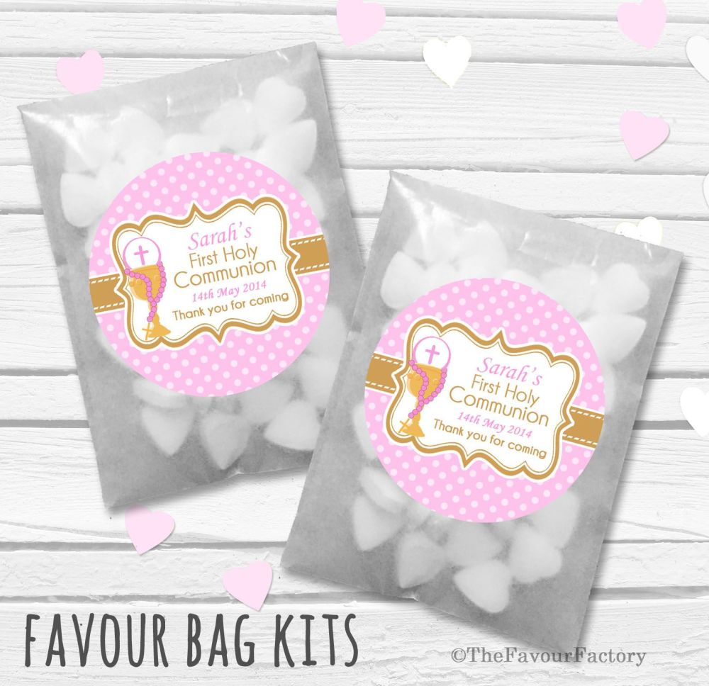 Chalice Pink Personalised Holy Communion Party Favours Glassine Bags Kits x