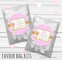 Chalice Pink Personalised Holy Communion Party Favours Glassine Bags Kits x12