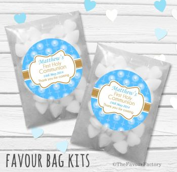 Beads with Candles Blue Personalised Holy Communion Party Favours Glassine Bags Kits x12