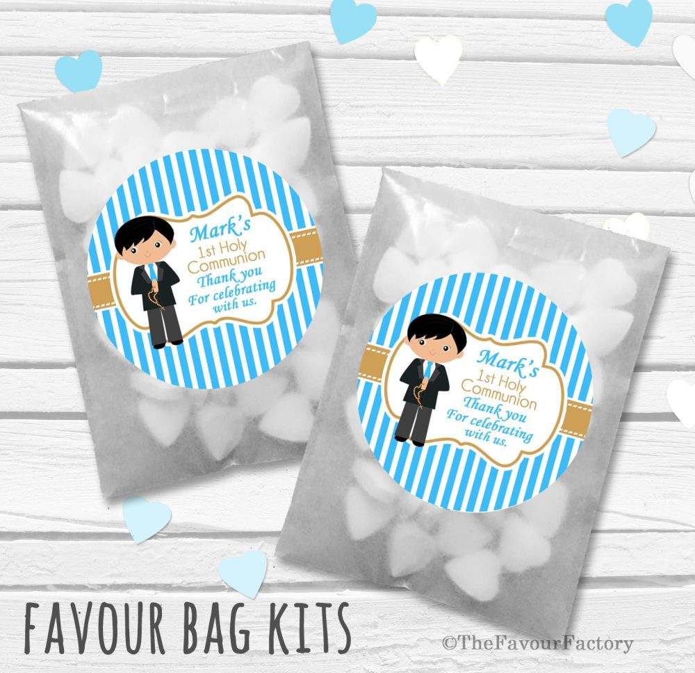 Boy Black Hair Personalised Holy Communion Party Favours Glassine Bags Kits