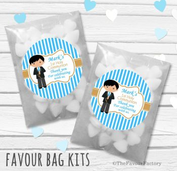 Boy Black Hair Personalised Holy Communion Party Favours Glassine Bags Kits x12