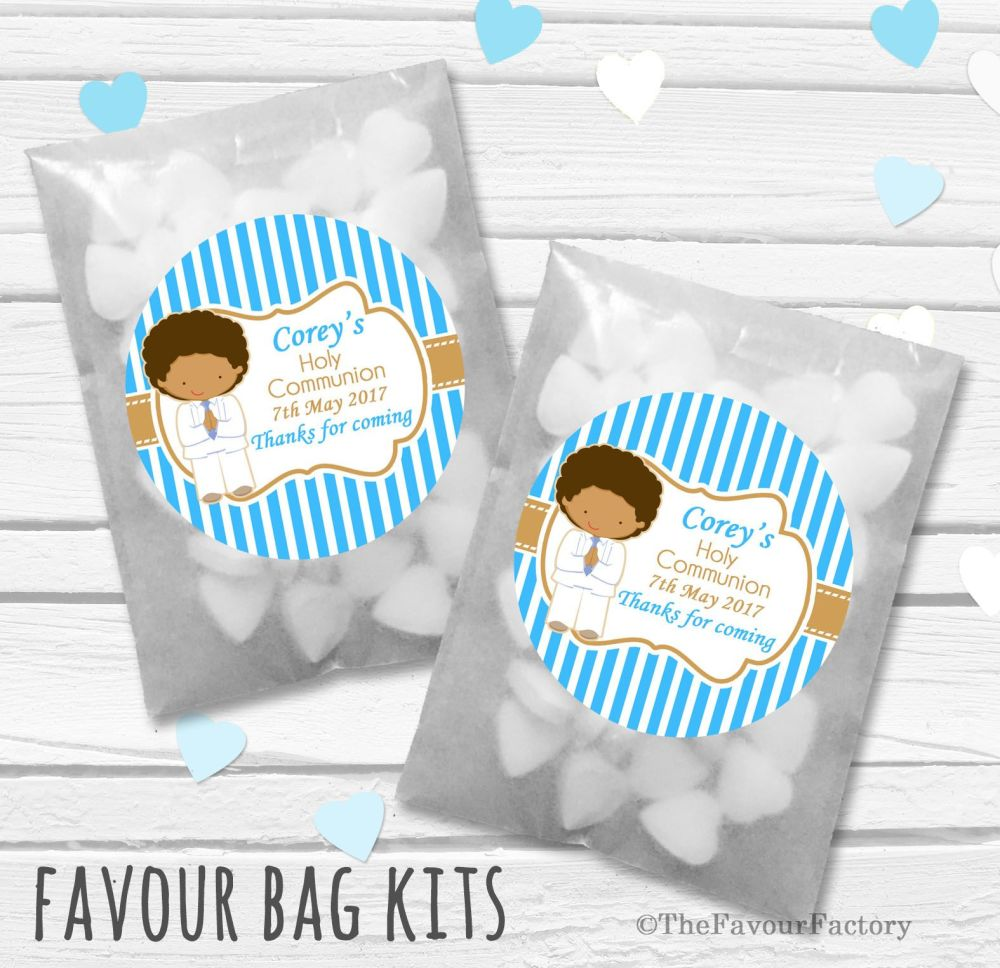 Boy White Suit Personalised Holy Communion Party Favours Glassine Bags Kits