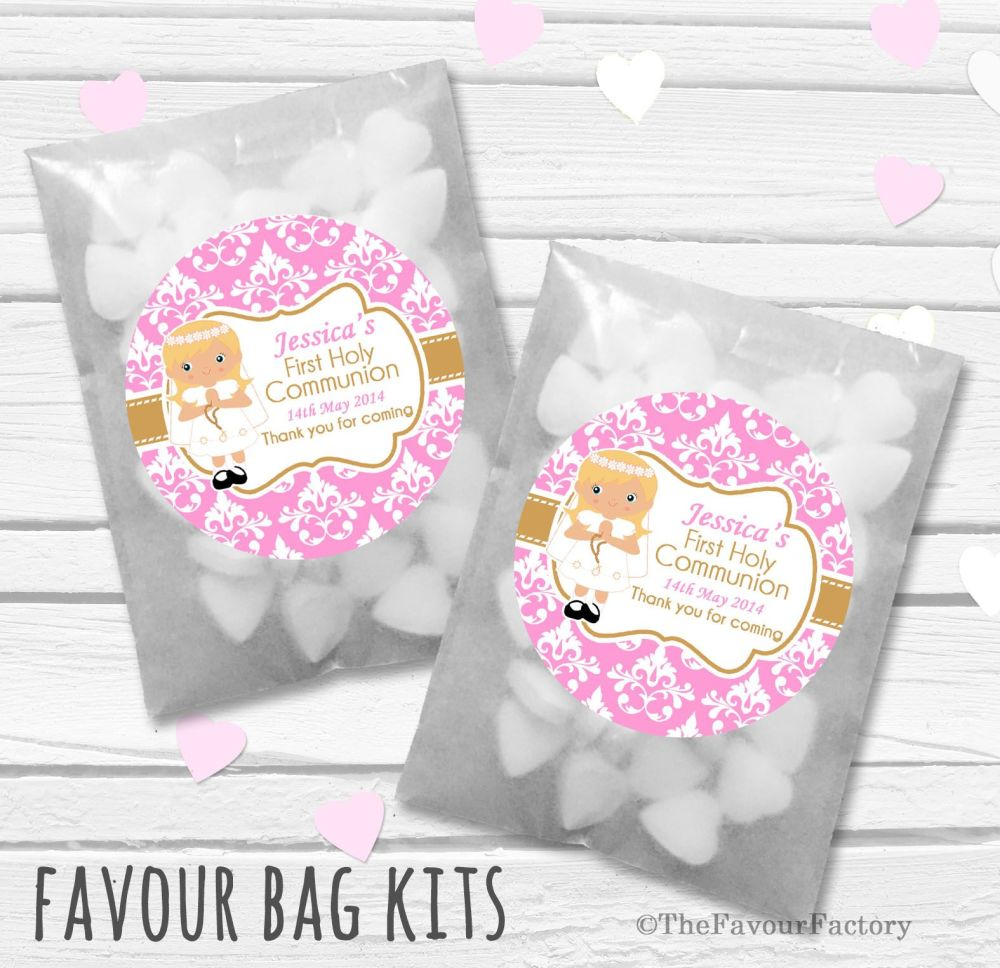 Damask Blonde Hair Girl Personalised Holy Communion Party Favours Glassine