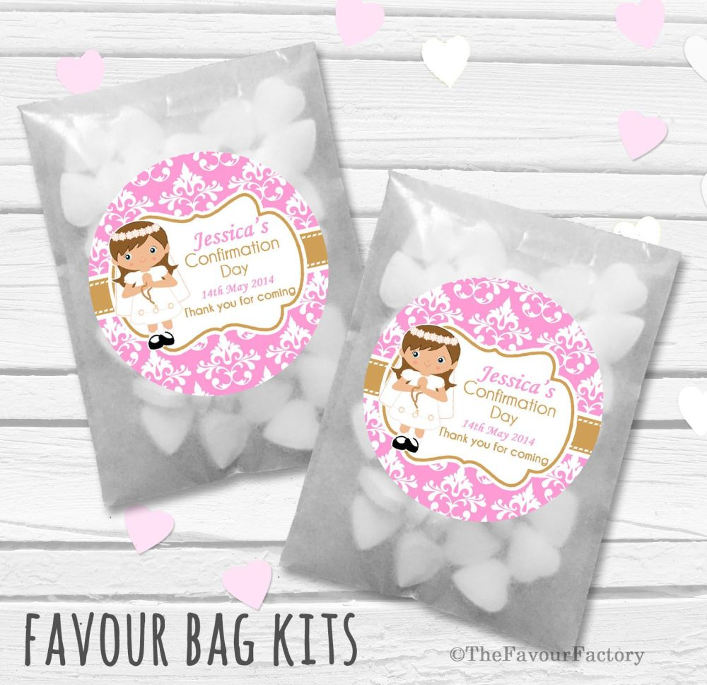 Damask Brown Hair Girl Personalised Holy Communion Party Favours Glassine B