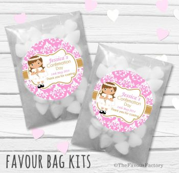 Damask Brown Hair Girl Personalised Holy Communion Party Favours Glassine Bags Kits x12