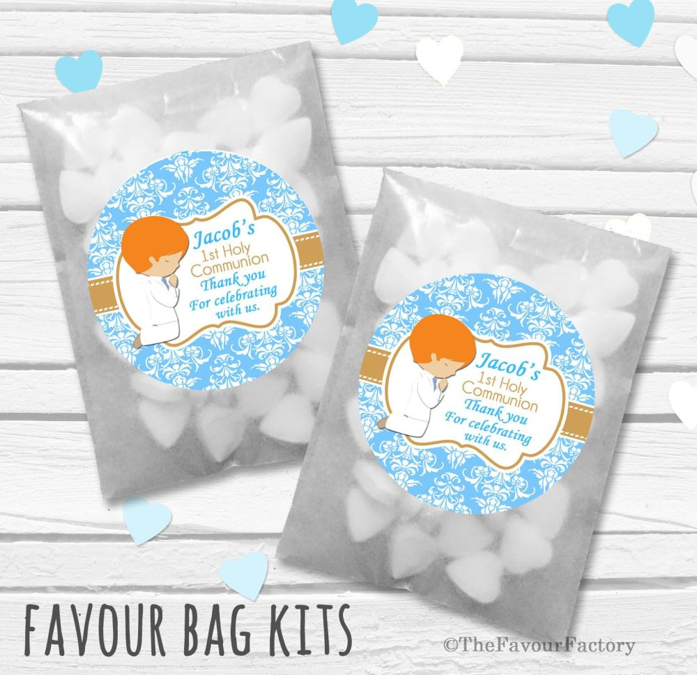 Praying Boy Ginger Hair Personalised Holy Communion Party Favours Glassine
