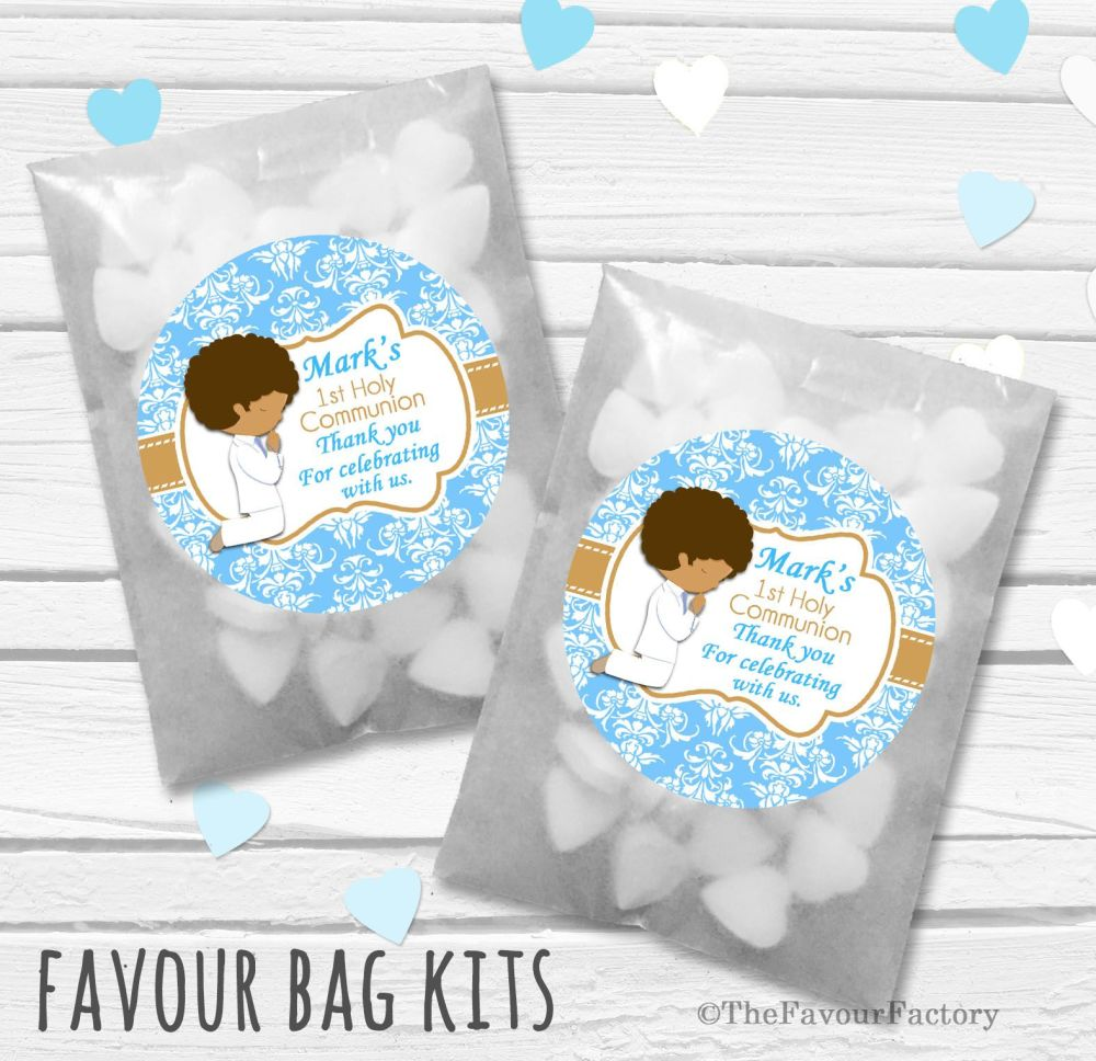 Praying Boy Black Hair Personalised Holy Communion Party Favours Glassine B