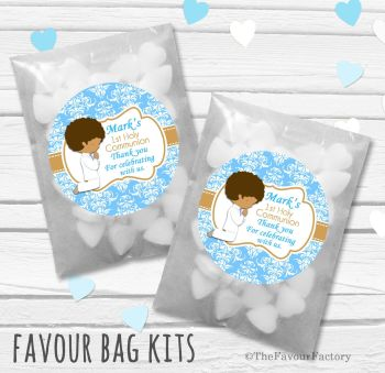 Praying Boy Personalised Holy Communion Party Favours Glassine Bags Kits x12