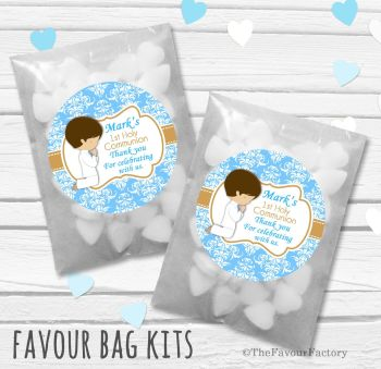 Praying Boy Brown Hair Personalised Holy Communion Party Favours Glassine Bags Kits x12