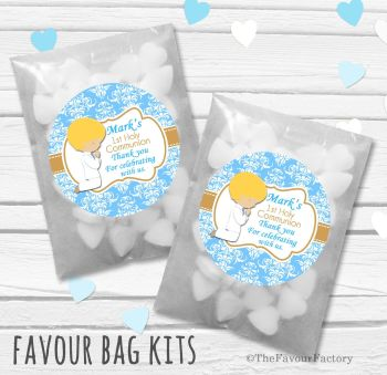 Praying Boy Blonde Hair Personalised Holy Communion Party Favours Glassine Bags Kits x12