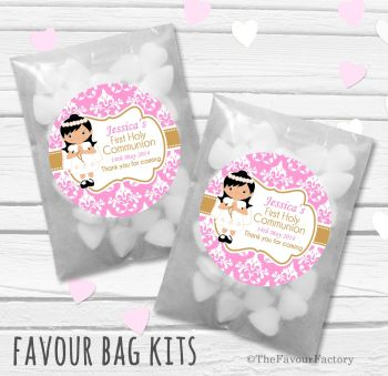 Damask Black Hair Girl Personalised Holy Communion Party Favours Glassine Bags Kits x12