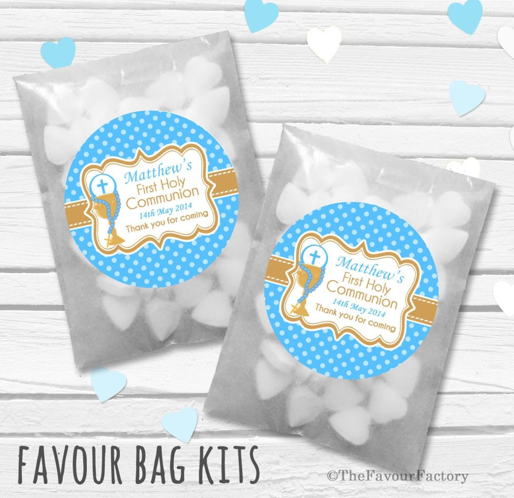 Chalice Blue Personalised Holy Communion Party Favours Glassine Bags Kits x