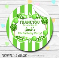 Green Theme Candy Sweets Shop Style Personalised Stickers 1x A4 sheet