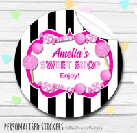 Black & Pink Candy Sweets Shop Style Personalised Stickers.