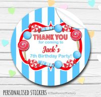 Blue and Red Theme Candy Sweets Shop Style Personalised Stickers 1x A4 sheet