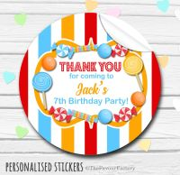 Circus Theme Candy Sweets Shop Style Personalised Stickers 1x A4 sheet