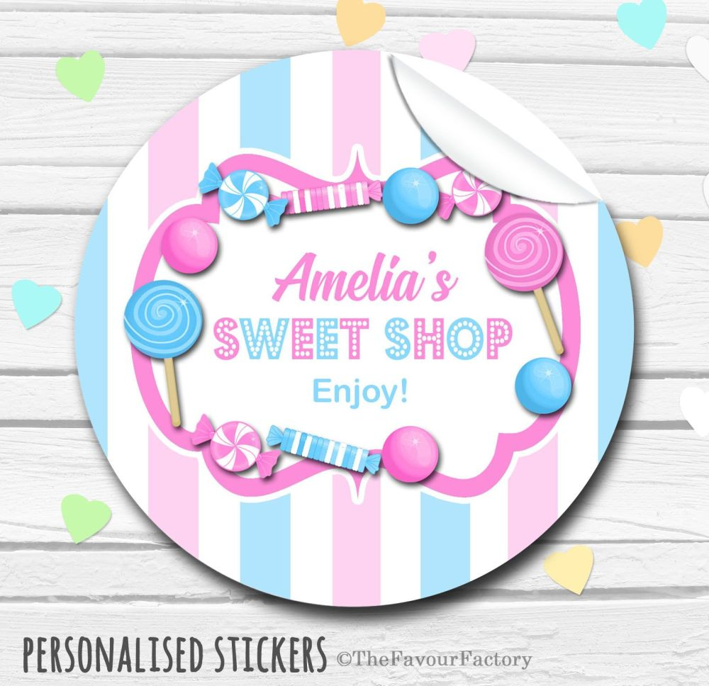 Pink and Blue Theme Candy Sweets Shop Style Personalised Stickers 1x A4 sheet