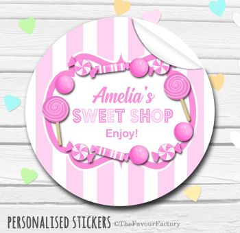 Pink Theme Candy Sweets Shop Style Personalised Stickers 1x A4 sheet