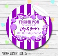 Purple Theme Candy Sweets Shop Style Personalised Stickers 1x A4 sheet