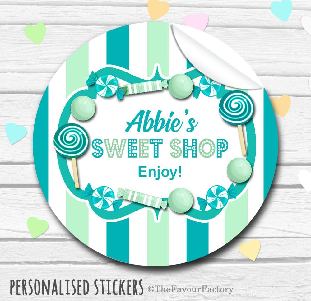 Theme Candy Sweets Shop Style Personalised Stickers 1x A4 sheet