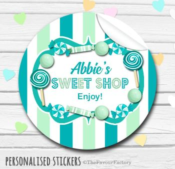 Teal and Mint Theme Candy Sweets Shop Style Personalised Stickers 1x A4 sheet